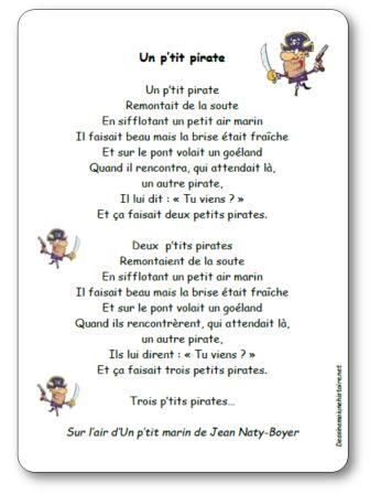 Comptine un p tit pirate paroles illustr es imprimer - Monsieur pirate ...