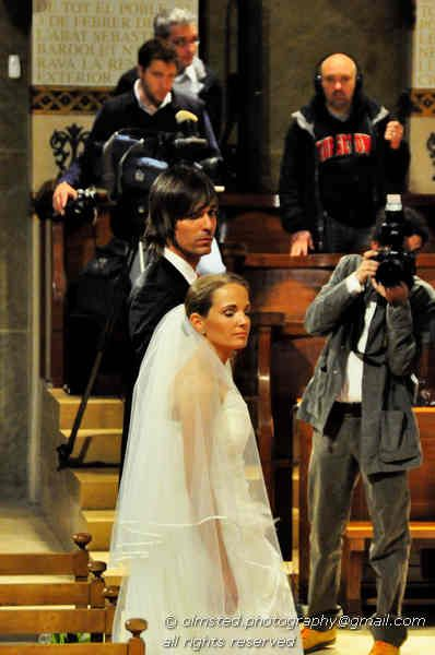 A photo of the bride and groom during a wedding in Montserrat, Spain.