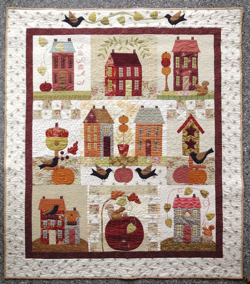 autumn house quilt completed quilts houses house quilt rh pinterest com
