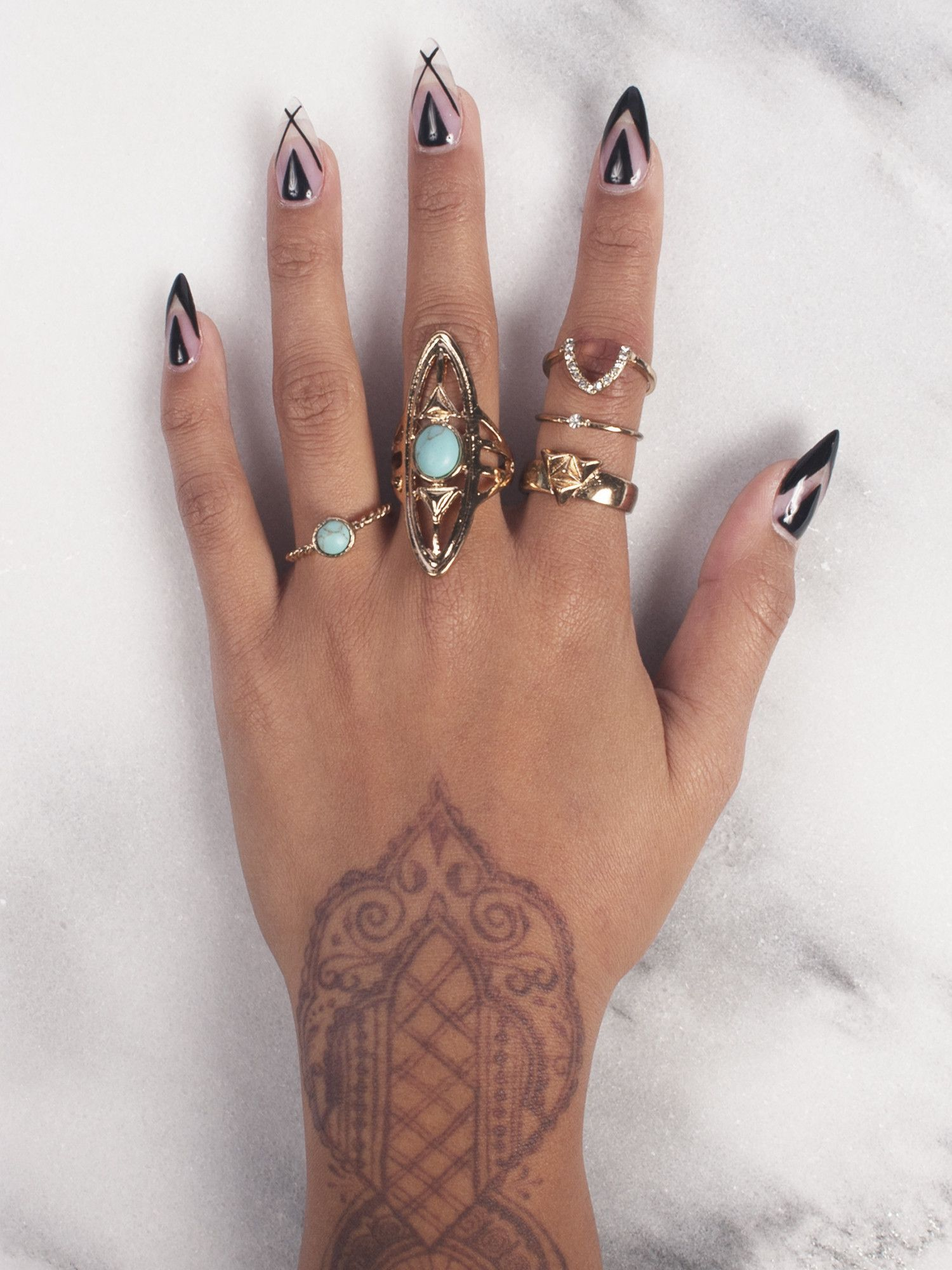 Teal Ring Set. | Cute and Stylish Midi Rings || Gold-Soul.La ...