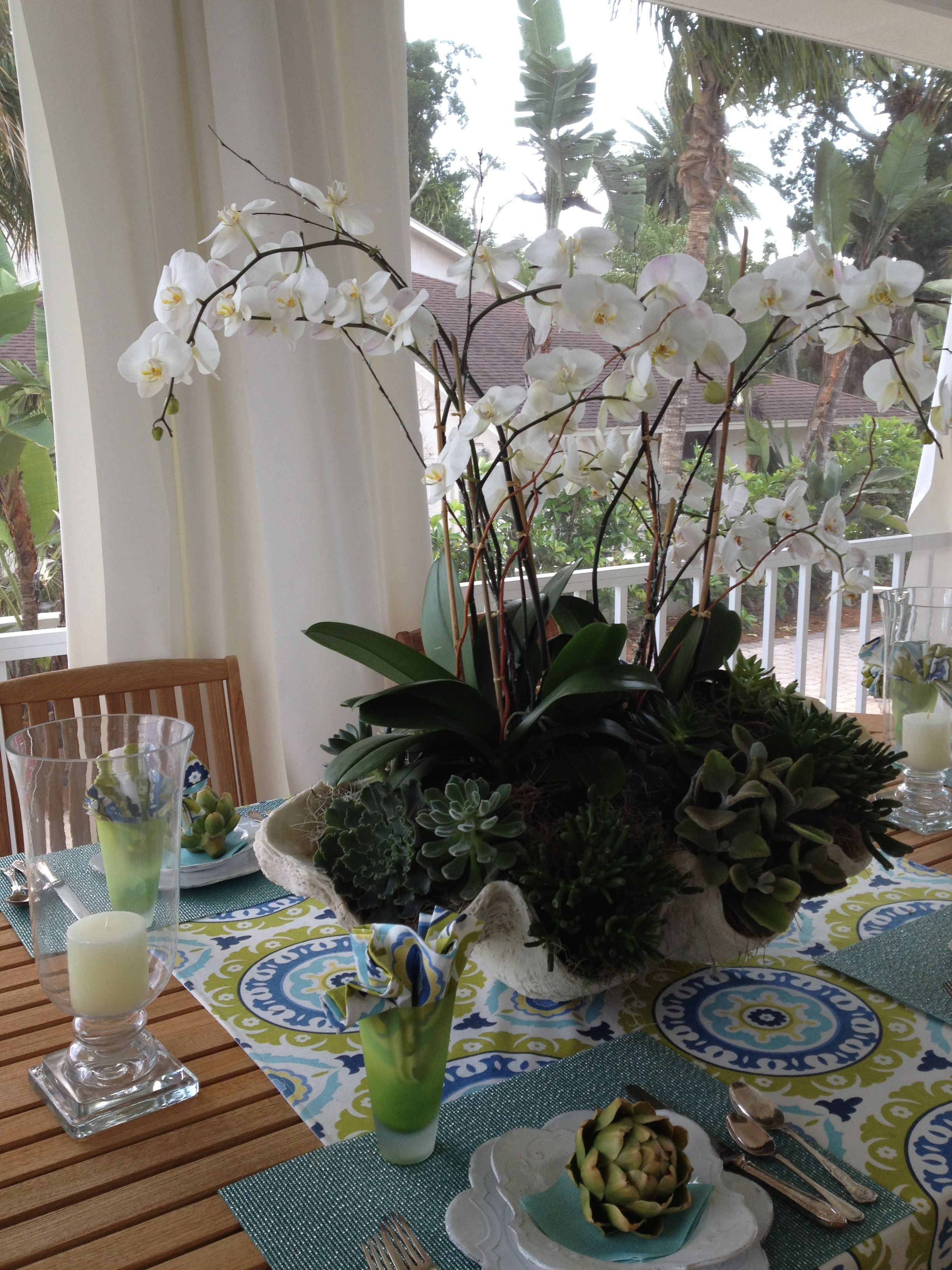 Gorgeous Florida Arrangement Orchids And Succulants In Large Shell Middle Of Outdoor Dining Table