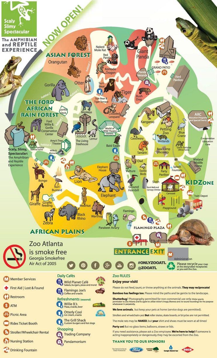 Map Of Atlanta Zoo Atlanta Zoo map | infographic in 2019 | Atlanta zoo, Zoo map