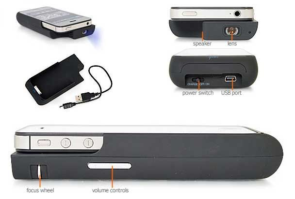 """iPhone Pico DLP Projector """"Pico Genie A100″ Doubles As Protection Case and Extended Battery http://coolpile.com/gadgets-magazine/iphone-pico-dlp-projector-pico-genie-a100-doubles-protection-case-extended-battery/ via CoolPile.com    Business, Extended Battery, Firebox.com, Gifts For Her, Gifts For Him, iPhone, iPhone Case, iPod, Office, Projectors, Rechargeable"""
