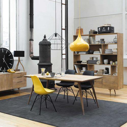 Dreibeinige Lampe SVEN aus Holz mit Lampenschirm aus Baumwolle, H - esszimmer 70er