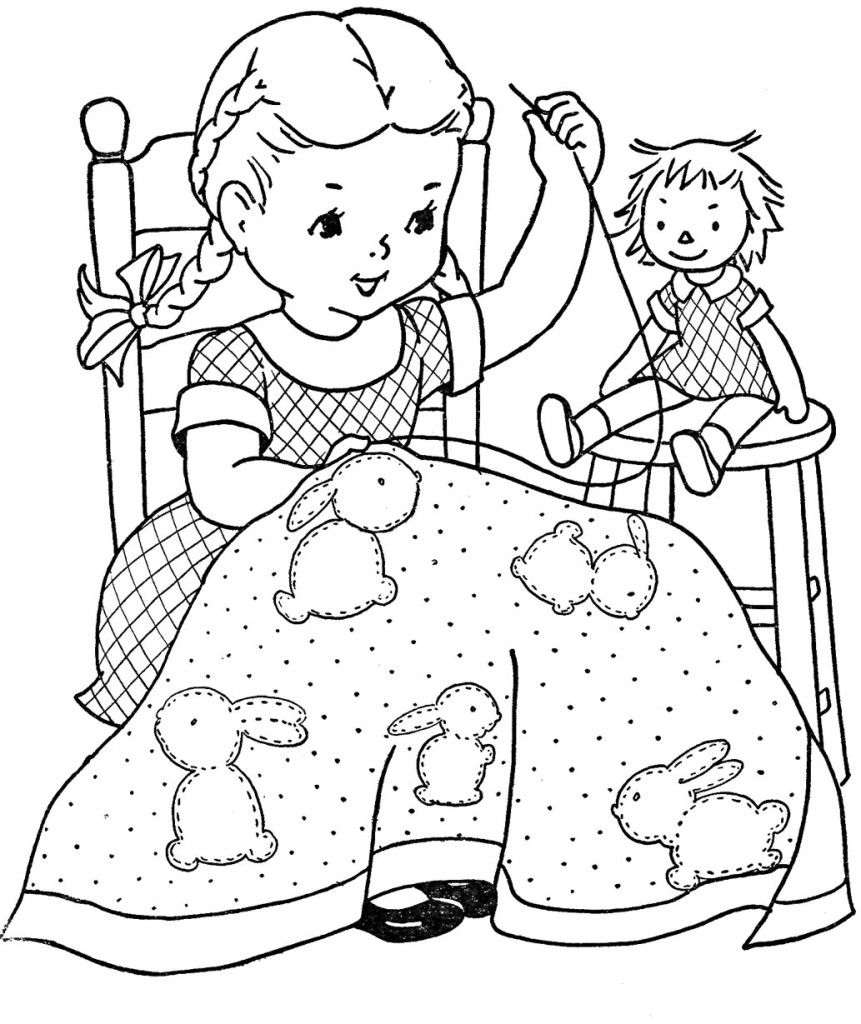 Printable quilt pattern coloring pages - 20 Girl Coloring Book Images To Use