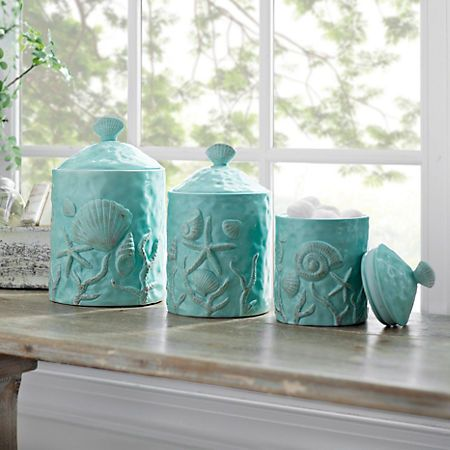 Turquoise Seashell Kitchen Canisters Set Of 3 Beach Kitchen