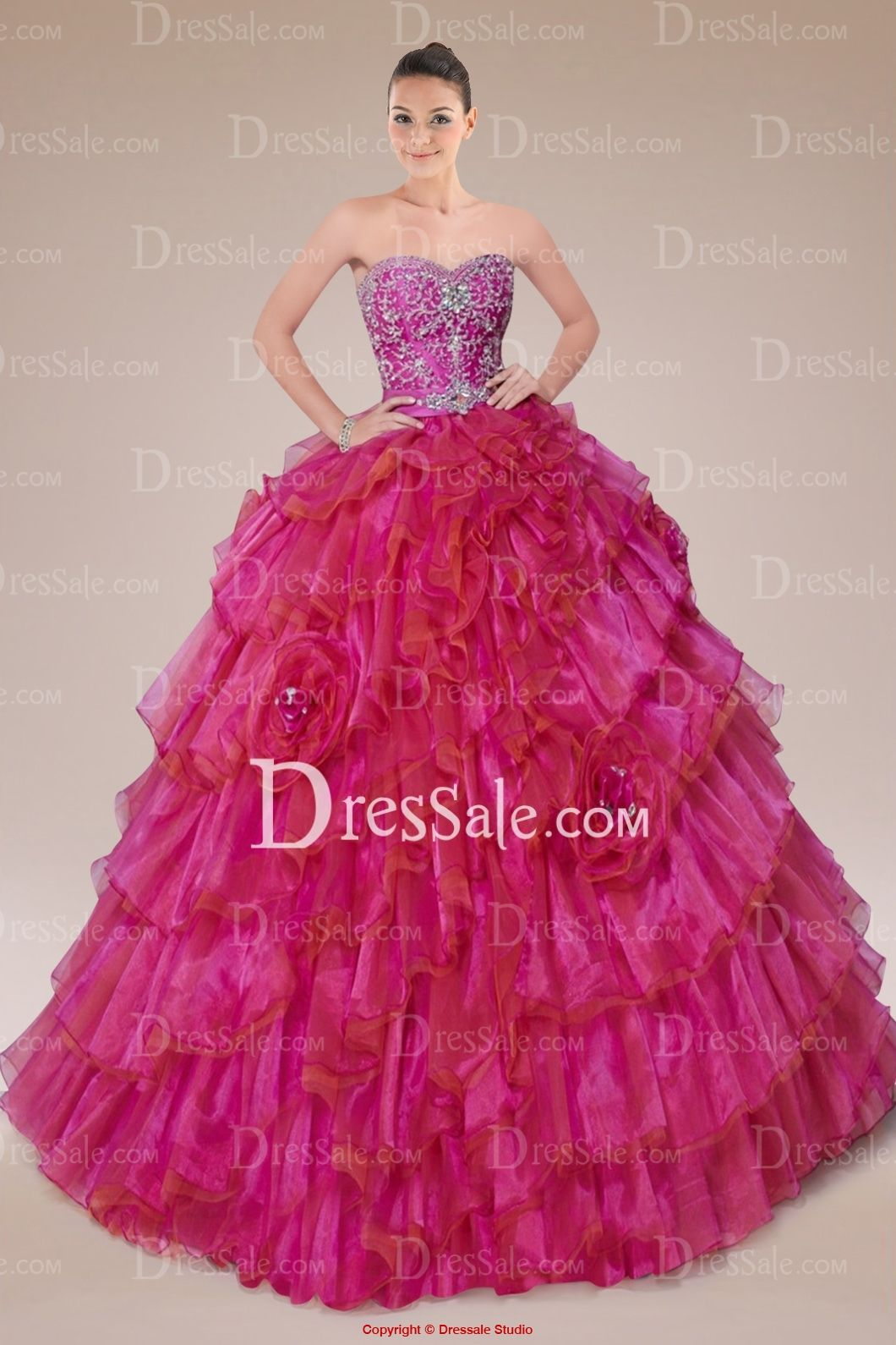 Classy Sweetheart Neckline Quinceanera Gown with Appliqued Bodice and Tiered Ruffles