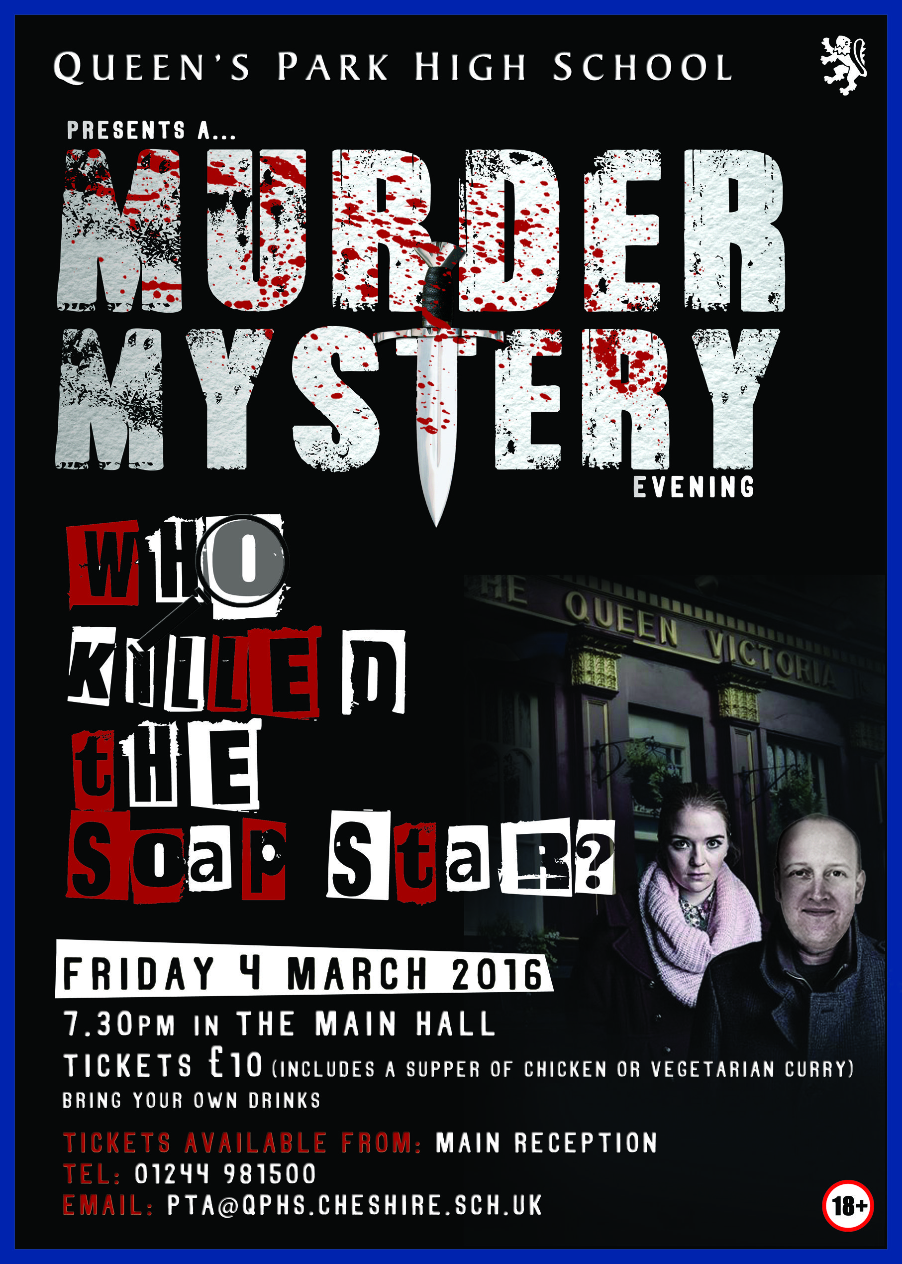 queen's park poster. murder mystery poster for fundraising
