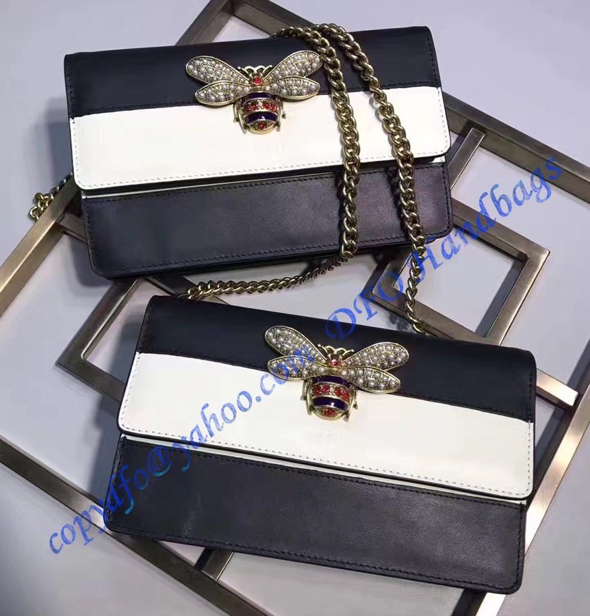 093ad7676e6da9 Gucci Queen Margaret Leather Mini Bag White Black | DFO HANDBAGS in ...