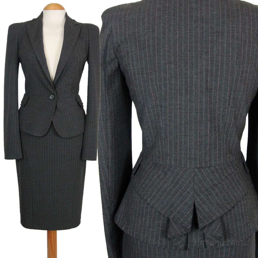 Warehouse Uk8 Us4 Grey Pinstripe Pencil Skirt Suit 1950s 50s Women