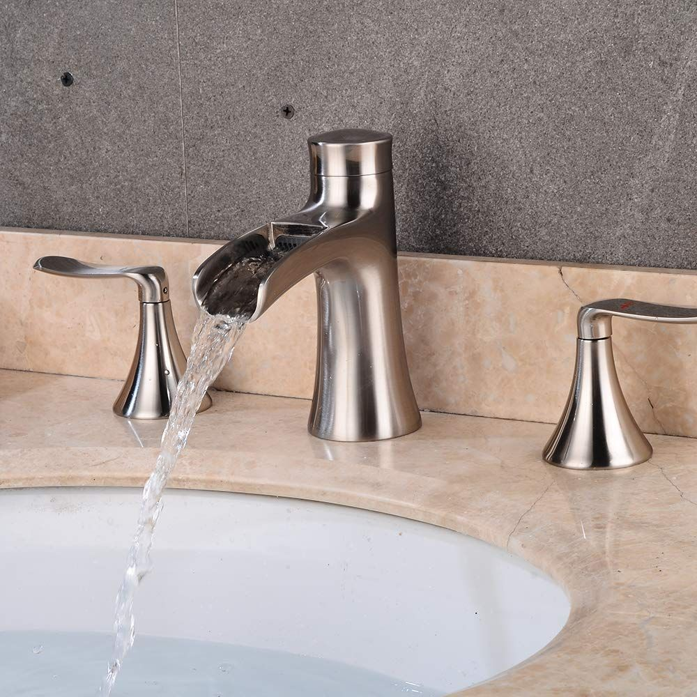 Wovier Brushed Nickel Widespread Waterfall Bathroom Sink Faucet Two Handle Three Hole Vessel Lavatory Faucet Basin Mixer Tap Bathroom Sink Faucets Faucet Sink
