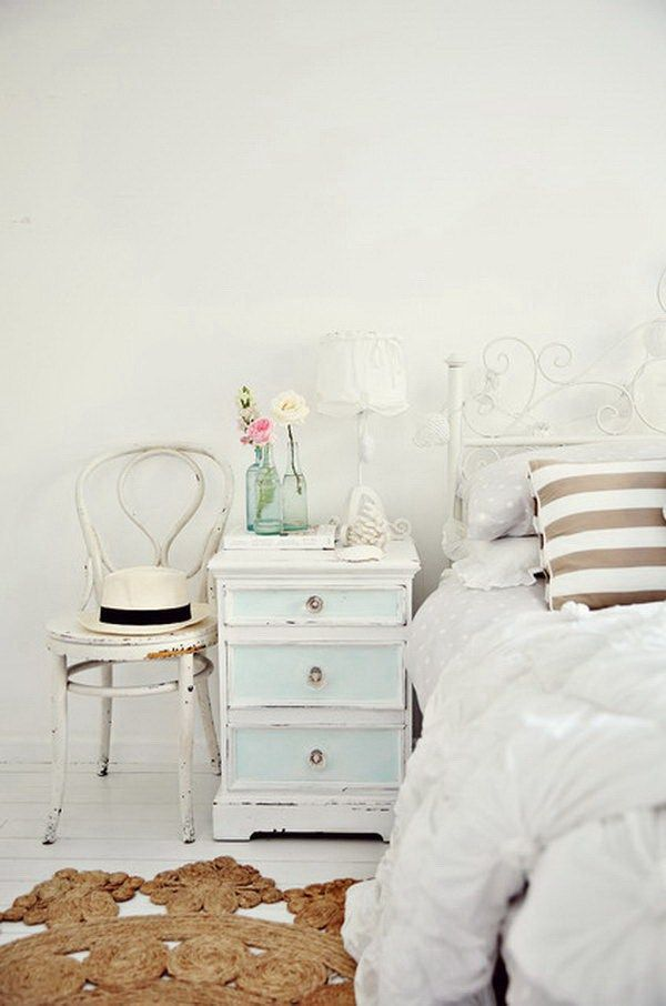 Shabby Chic Bedroom with White Walls Vintage
