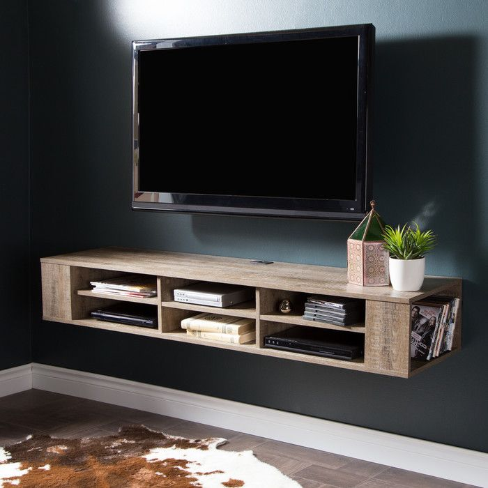 You Ll Love The 60 Shallow Wall Mounted Tv Component Shelf At