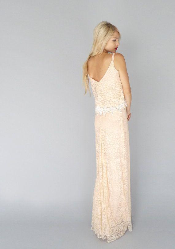 INEZ Blush lace bohemian hippie wedding gown sheath by dahlnyc, $1028.00 <3<3<3