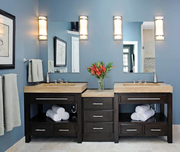 Blue master bathroom before and after | Lebanon bathroom ...