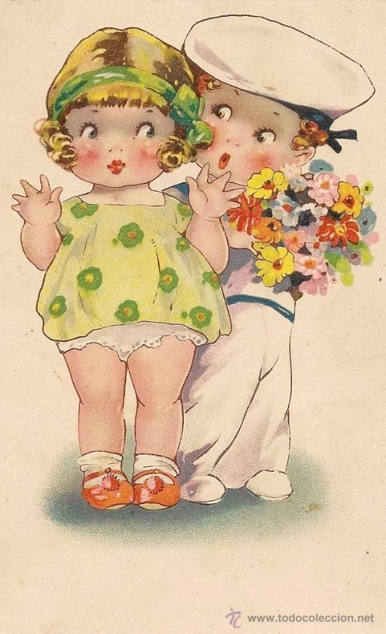 Bonita postal antigua ni os felicitaciones - Ilustraciones infantiles antiguas ...