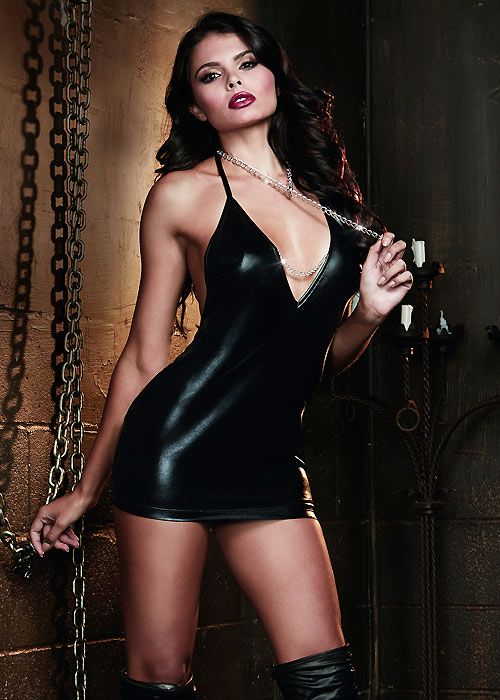 b98d144666 Dreamgirl Faux Leather Look Halter Chemise With Choke Chain Collar ...