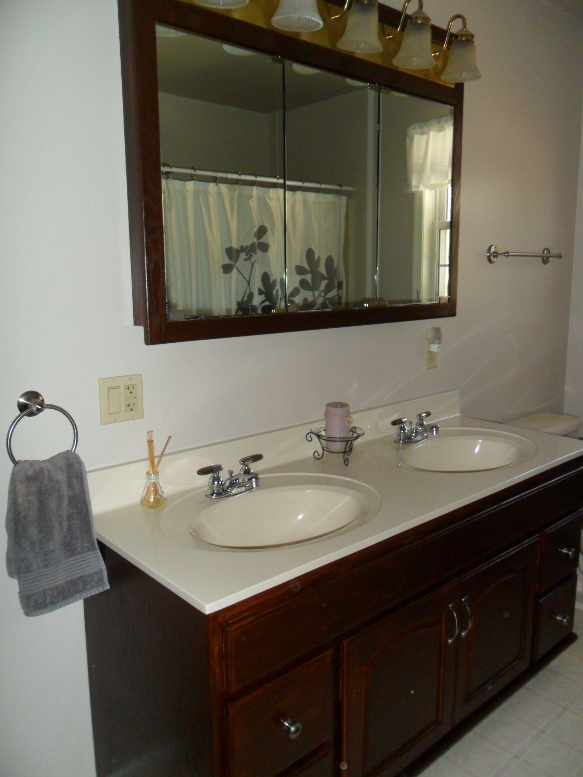oak cabinets and mirror redone using minwax gel stain mahogany rh pinterest ca
