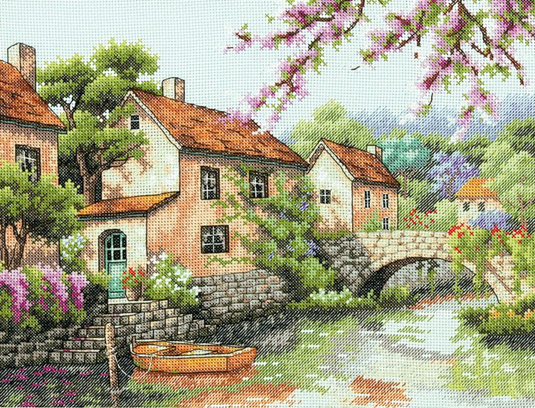 Counted Cross Stitch Kit VILLAGE CANAL Dimensions New Release!