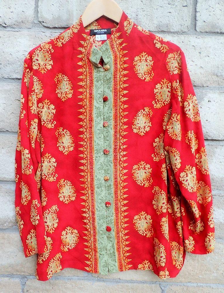 womens nira nira new york silk red gold blouse button