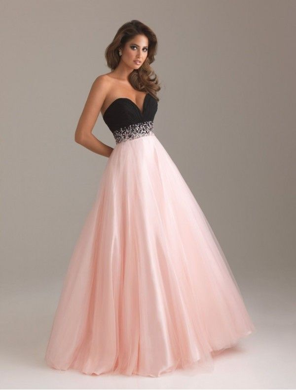 Chiffon and Tulle Sweetheart Strapless Neckline Ball Gown Prom ...