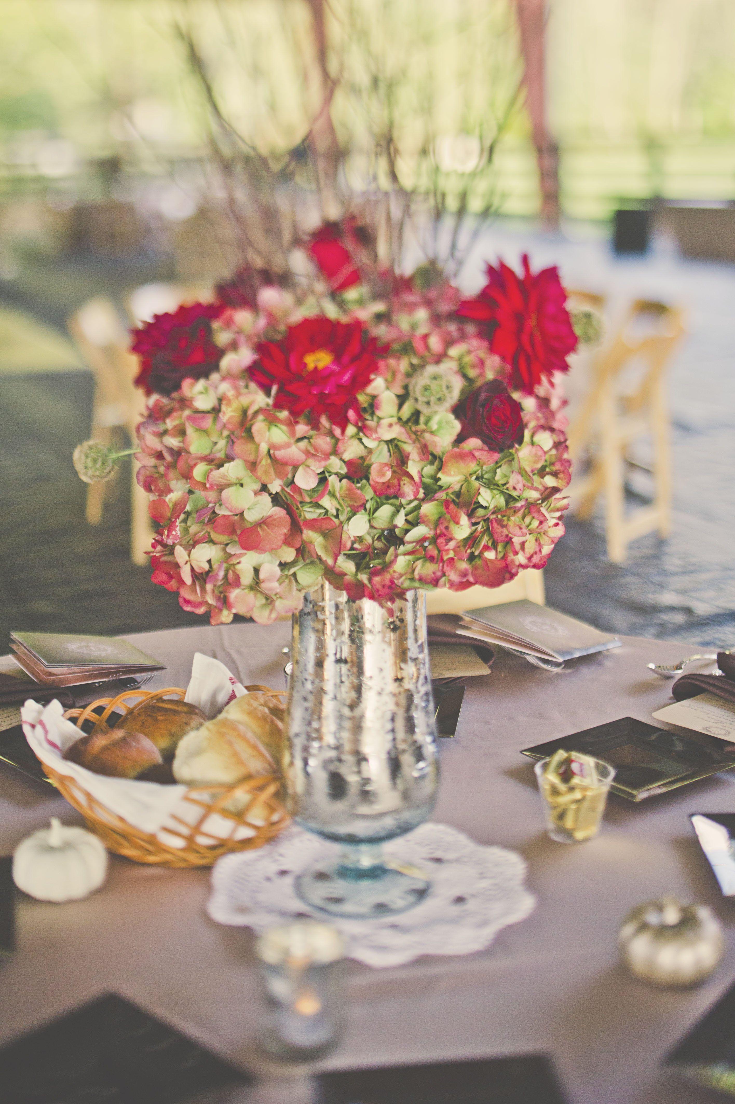 rustic red flowers in pewter vases wedding inspiration pinterest rh pinterest com