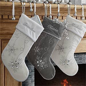 Love These Sparkly Silver And White Personalized Snowflake Stockings You Can Embroider Them With Any Name For A Perfect Winter Wonderland Christmas Mantle