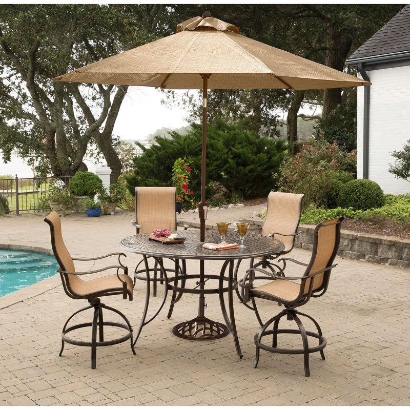 hanover manor aluminum 5 piece round bar height patio dining set rh pinterest co uk
