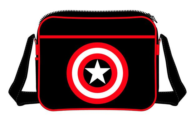 Bandolera Capitán América, logo negra  Magnífica bandolera, unisex, donde vemos el logo del escudo del Capitán América, en color negro.