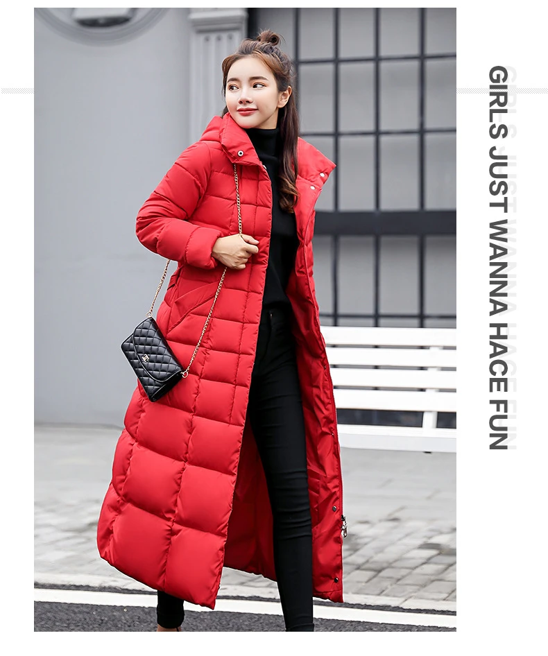 Thick Warm Hooded Long Down Parkas Women Down Jacket, Winter Coat Cotton Padded Jacket
