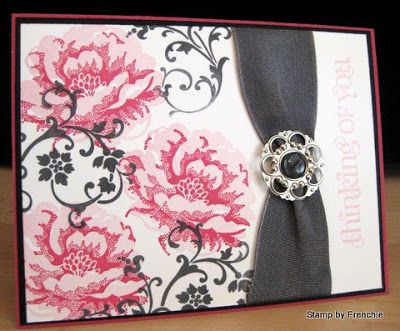 Stippled blossoms  Stamp & Scrap with Frenchie - love the color combination and ribbon