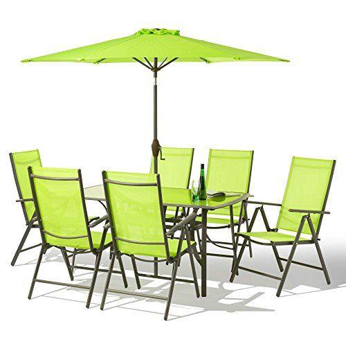 8 Piece Santorini Garden And Patio Set New 2017 Model Now With Aluminium X Multi Position Recliner Chairs Table Metre Tilt Crank Parasol