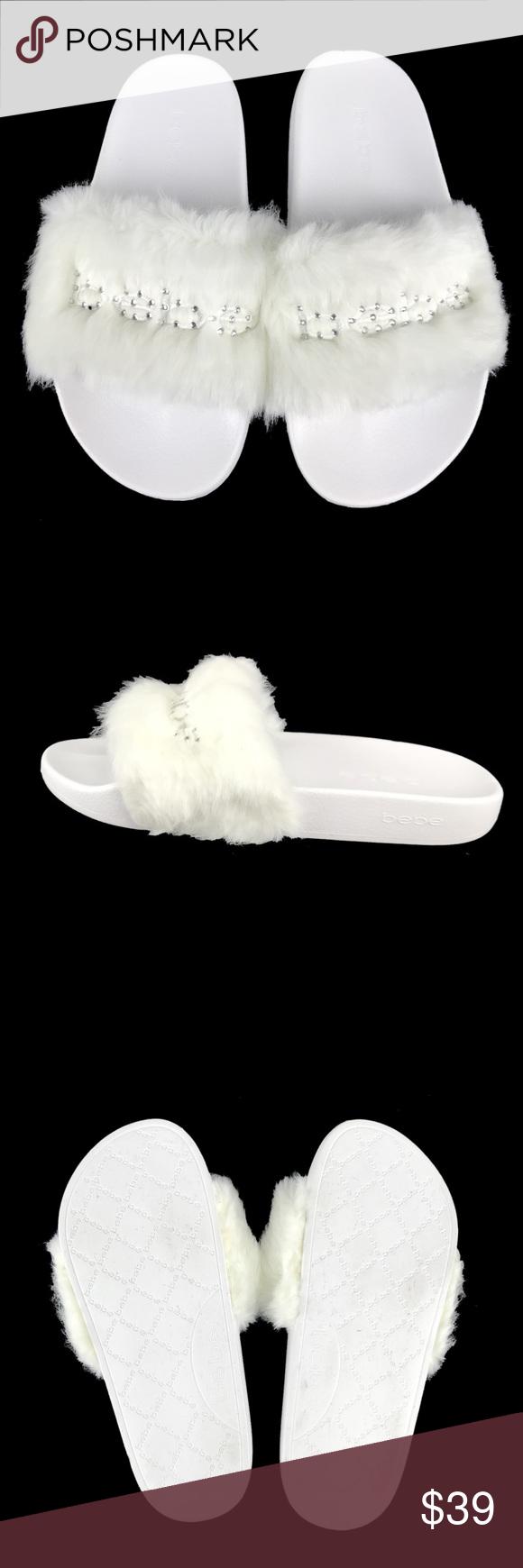 8ec4ee50db04 Bebe Slippers Furiosa Faux Fur Rhinestone