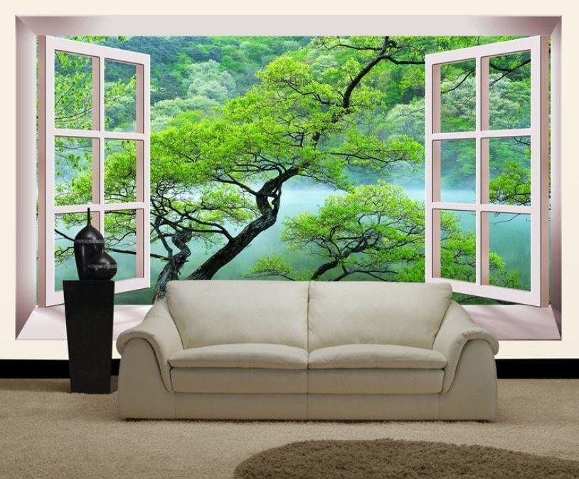 3d gr ne zweige fenster fototapeten wandbild fototapete bild tapete familie fototapeten. Black Bedroom Furniture Sets. Home Design Ideas