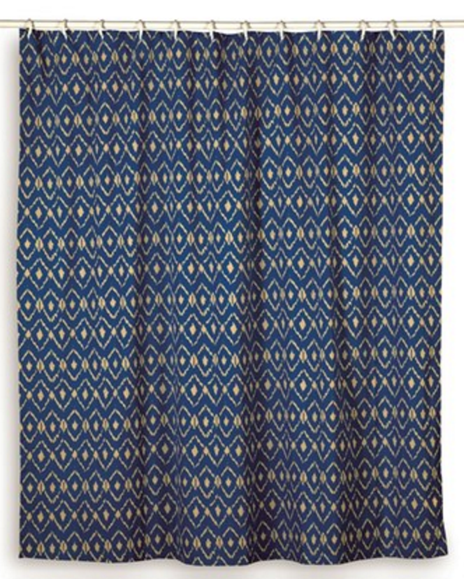 Rizzy Home Ikat Cotton Shower Curtain 72 Inch In Blue Color, Orange