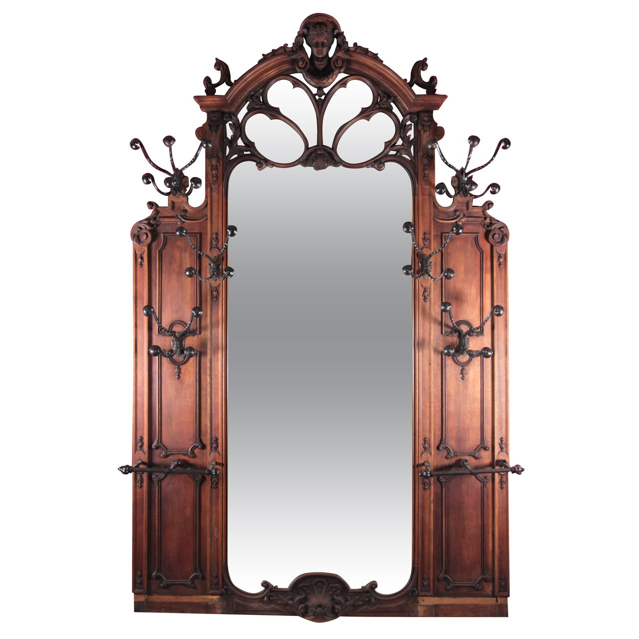 Large Scale Art Nouveau Wooden Hall Tree Mirror  