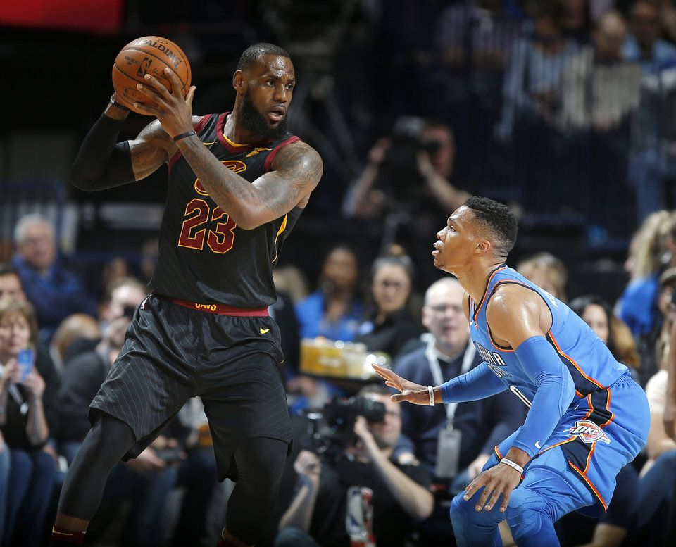 661f6b145 Oklahoma City  s Russell Westbrook (0) guards Cleveland  s LeBron James  (23) during an NBA basketball game between the Oklahoma City Thunder and  the ...