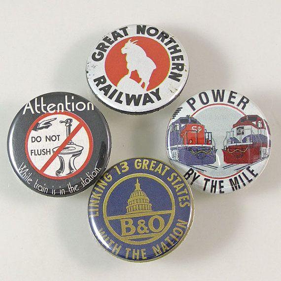 Railroad Pinback Button Set by XOHandworks $6