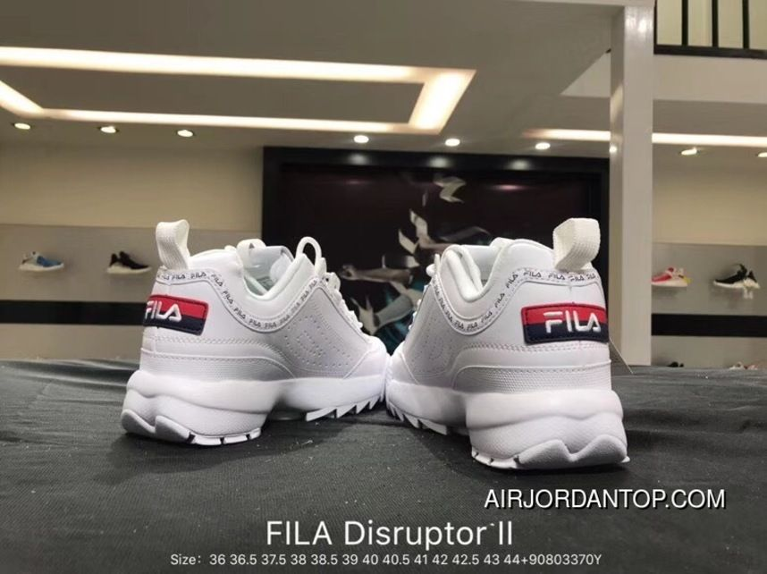 9a6c74117fe2 Fila Disruptor II 2 Indented Height Increasing Slender Legs All-match  Jogging Shoes White Red Navy Blue FS1HTA1070X WWR Size Copuon
