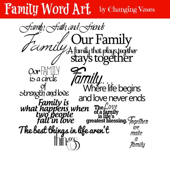 Family Word Art Collection 10 Quotes - Words and Phrases Clip art - Love Commercial Use Fonts For Scrapbook - Overlay PNG    With purchase, you
