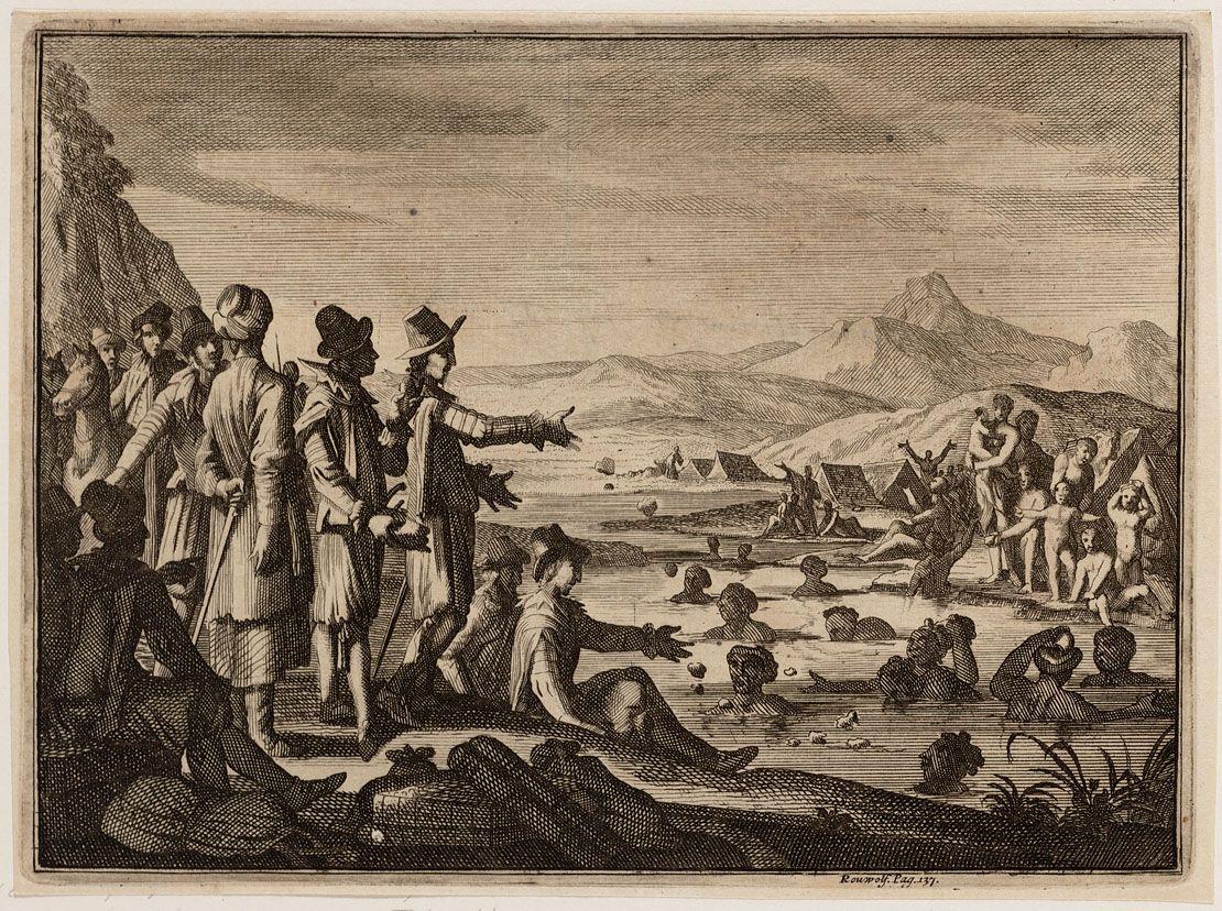 Moren nabij Aleppo komen zwemmend om brood bedelen Title:Moren nabij Aleppo komen zwemmend om brood bedelen Creator: etser:  Goeree, Jan (1670-1731) Luyken, Casper (1672-1708) Keyword: reizen Luyken (person) Date of creation:1706