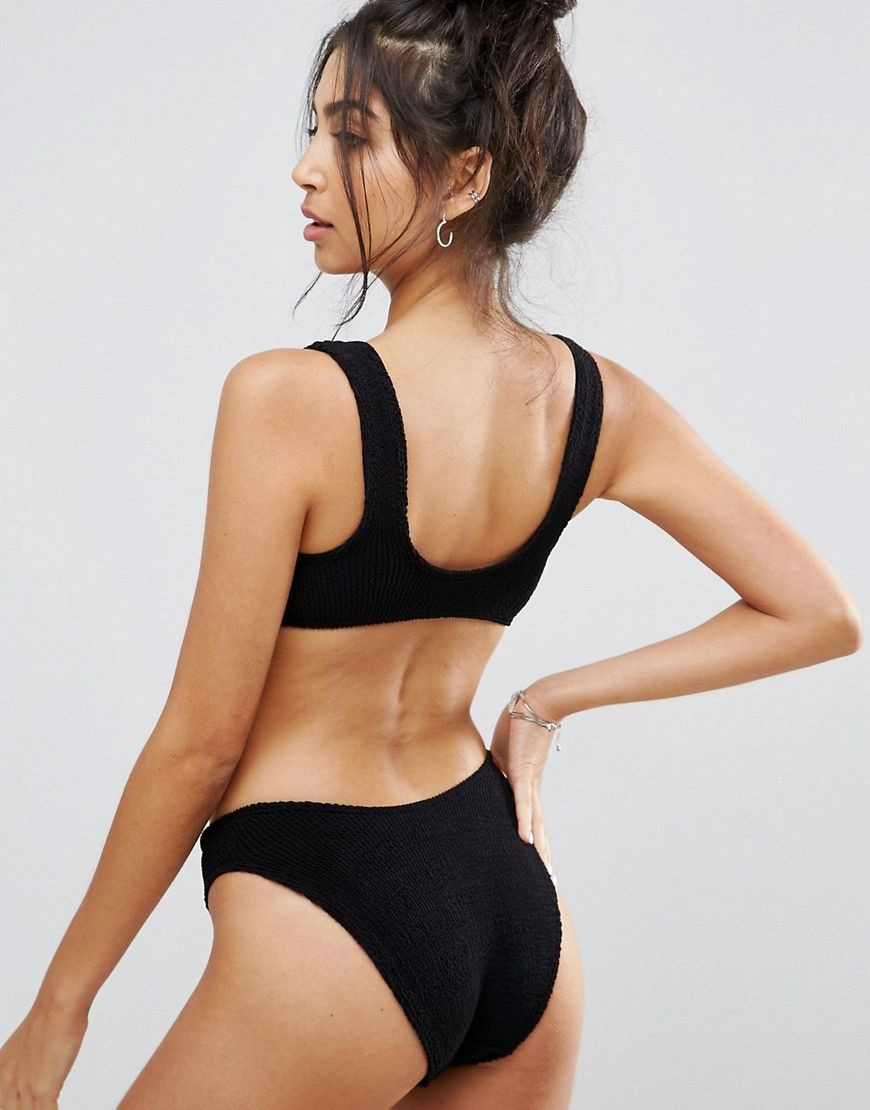 24d09a6fd264a ASOS Mix and Match Crinkle High Leg Hipster Bikini Bottom - Black