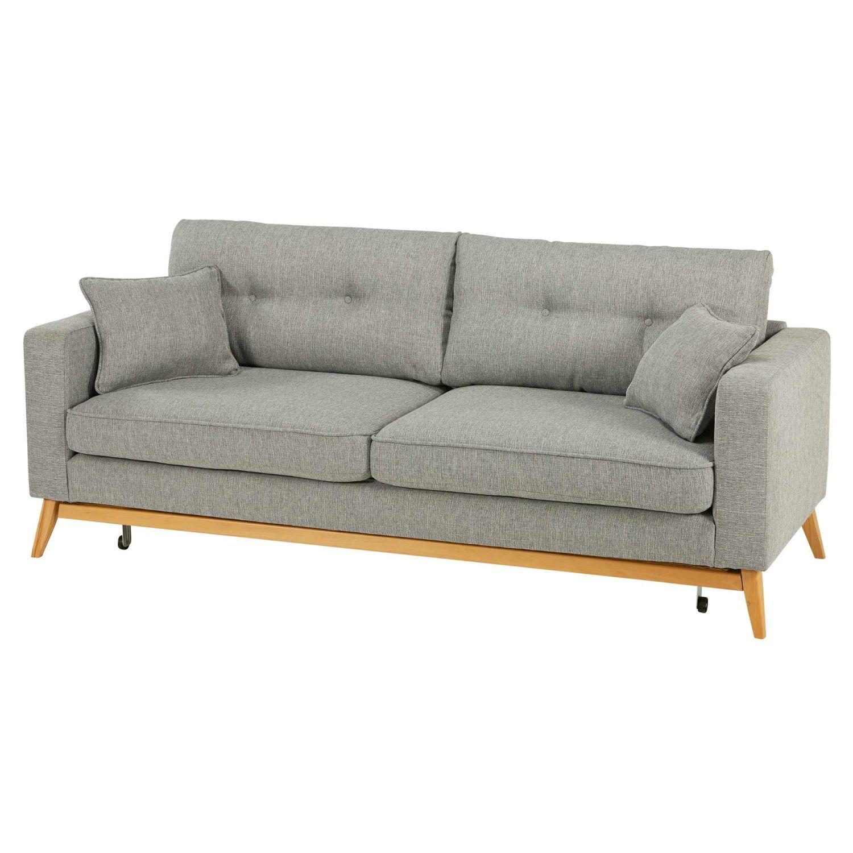 Skandinavisches Ausziehbares 3 Sitzer Sofa Aus Hellgrauem Stoff