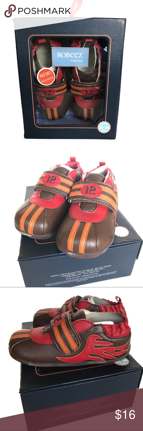 Robeez Tredz Brown Flames Shoes Size 7 8 With Images Robeez Robeez Shoes Brown