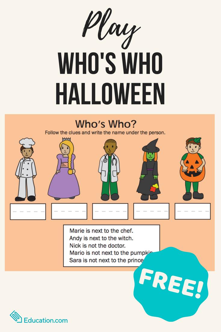 Who's Who Halloween Halloween worksheets, Interactive
