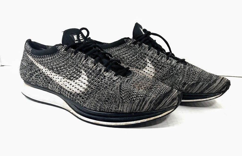 144209555a0e greece nike flyknit racer one 1 trainer oreo 2.0 black white grey 526628 012  size 13