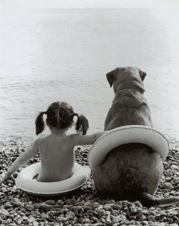 Little Girl And Her Dog Going To Swim Together Deco Dogs Dog