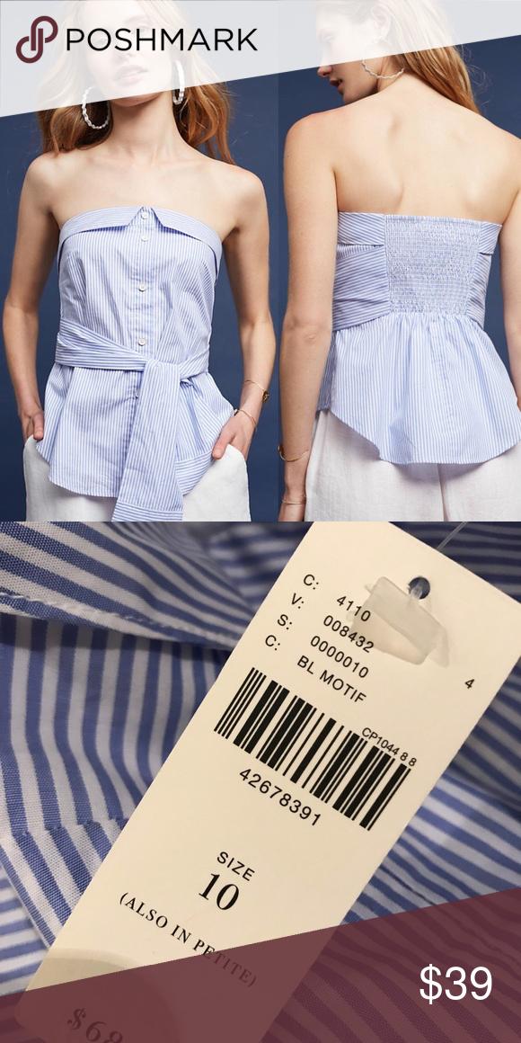 e2e98cb9e7781 •Maeve• Alana Strapless Blouse NWT Blue Striped Style No. 4110084320010    The name