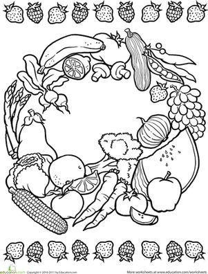 color a mandala: obst und gemüse - lebensmittel mandalas