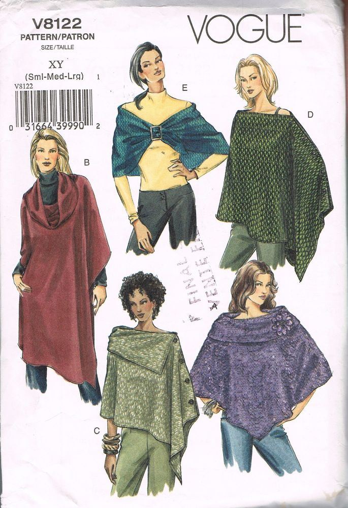 Misses Poncho Cape & Evening Wrap Sewing Pattern - Vogue V8122 Size ...